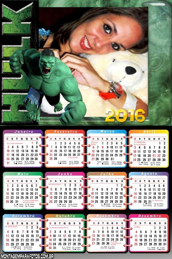 Calendário do Hulk 2016