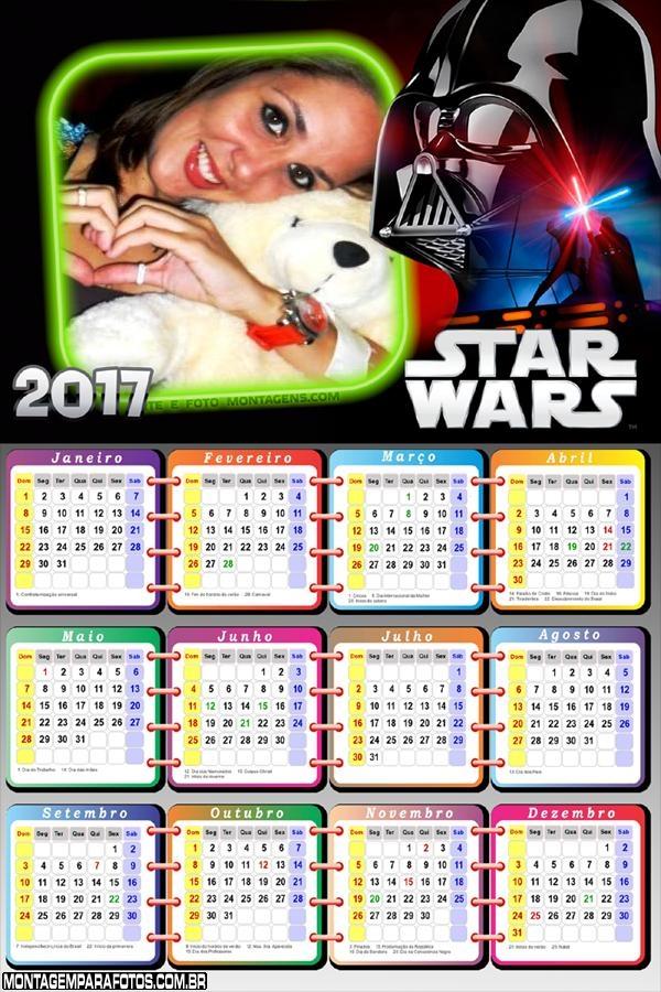 Calendário 2017 Filme Star Wars