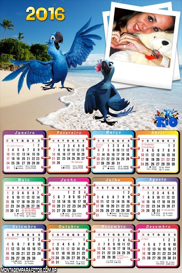 Calendário do Filme Rio 2016 Infantil