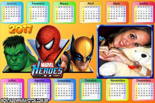Calendário 2017 Hulk Homem Aranha e Volverine