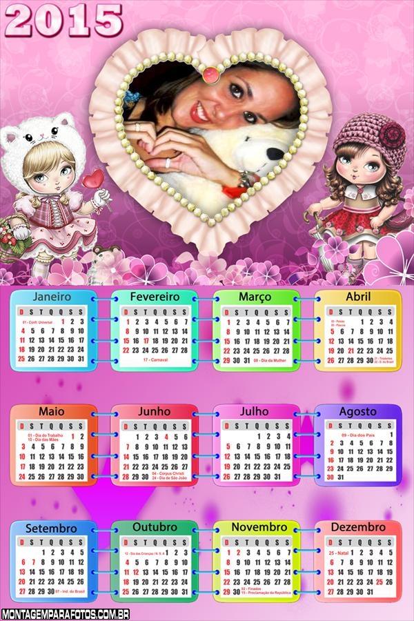 Calendário 2015 Jolie Coração