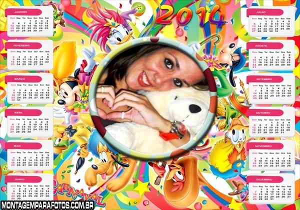 Calendário 2014 Disney Carnaval