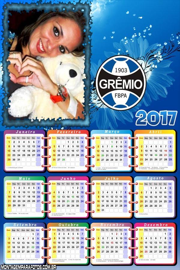 Calendário 2017 Time de Futebol Grêmio