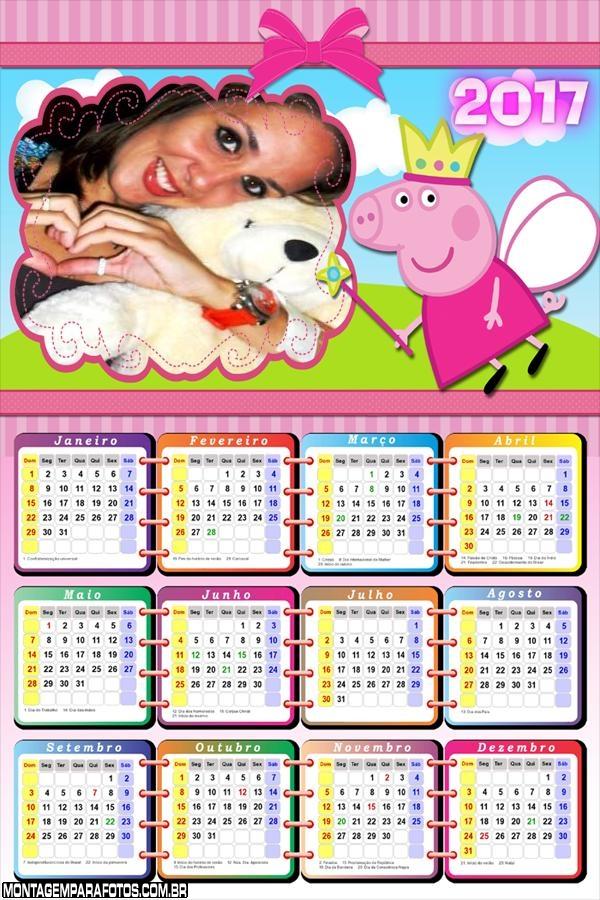 Calendário 2017 Peppa Pig Fadinha Mágica