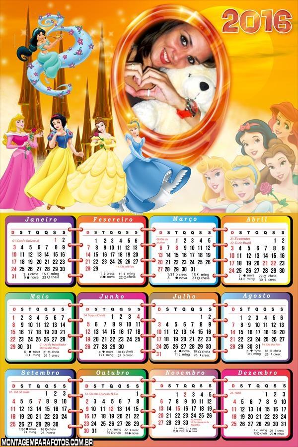 Calendário 2016 Princesas da Disney