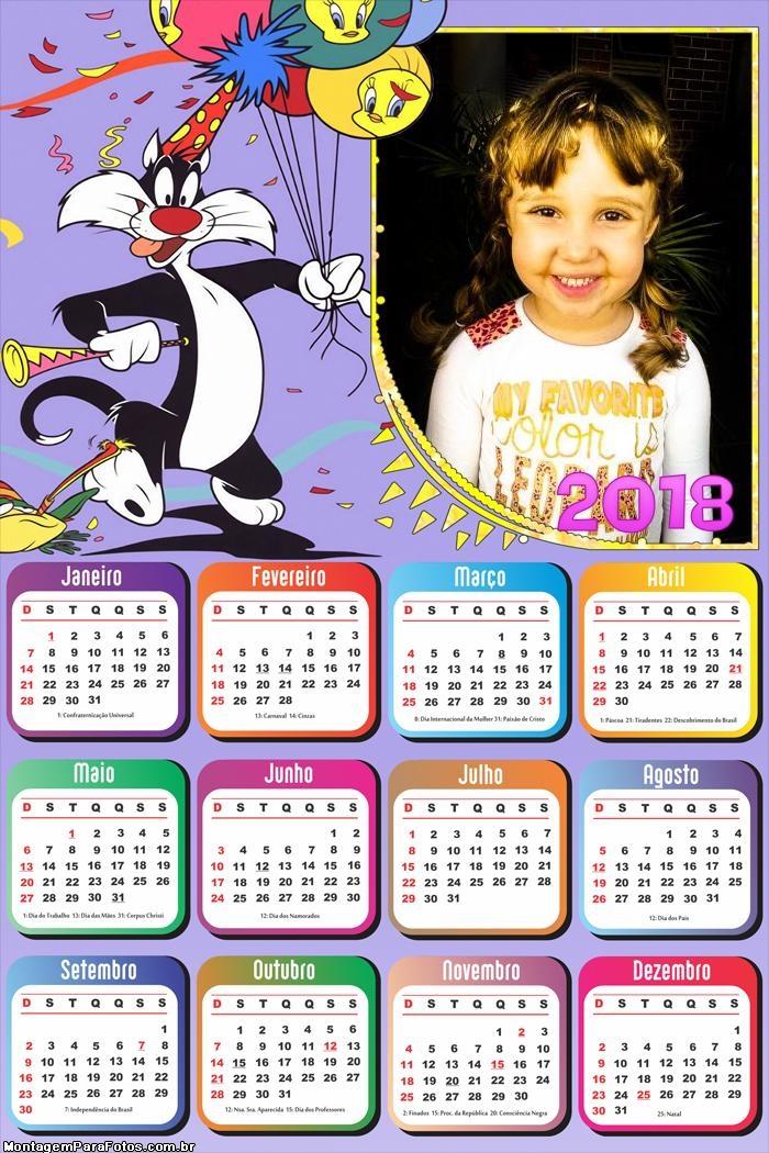 Calendário 2018 Aniversário Frajola