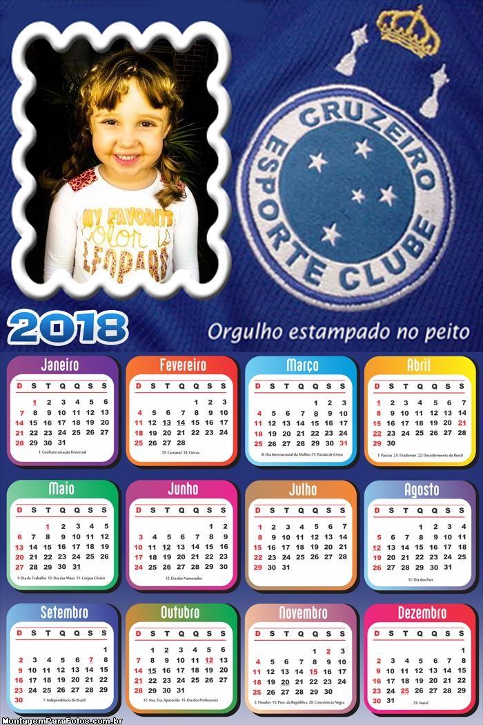 Calendário 2018 Cruzeiro Time Futebol