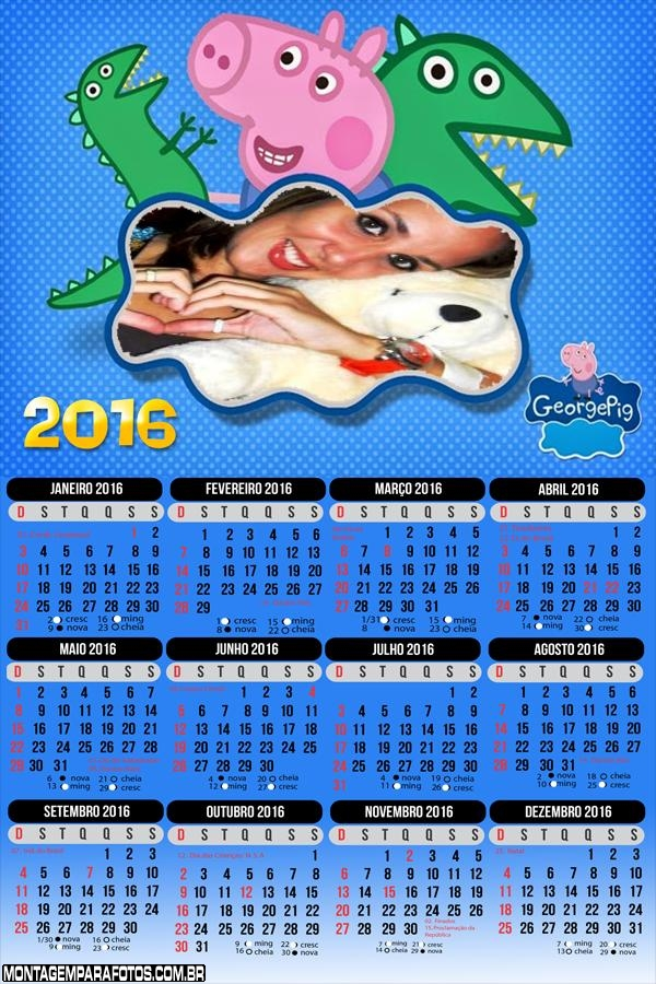 Calendário George Irmão Peppa Pig 2016