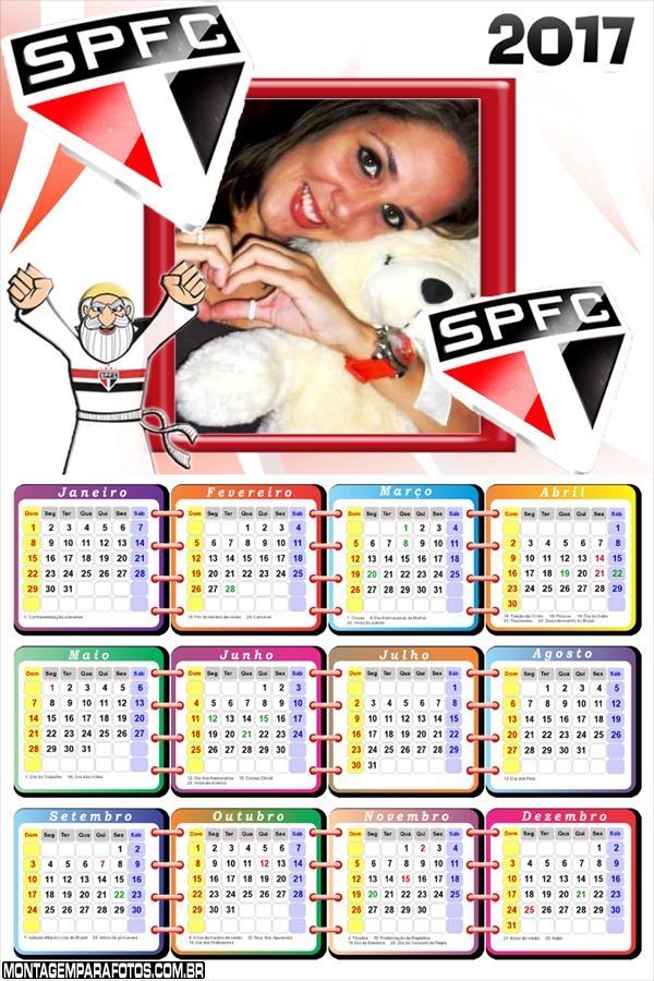Calendário 2017 São Paulo Mascote do Time