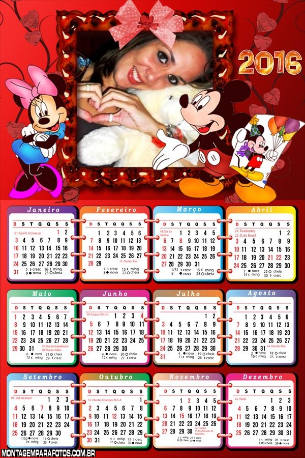 Calendário da Minnie e do Mickey 2016 FotoMoldura