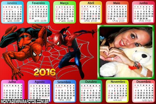 Calendário Homem Aranha Teia 2016 Horizontal