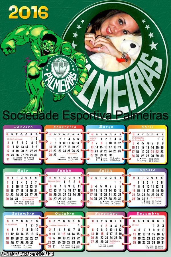 Calendário Hulk Palmerense 2016