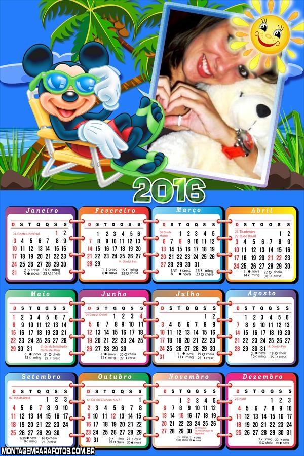 Calendário de Férias do Mickey Disney 2016