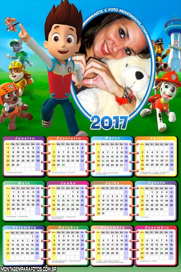 Calendário 2017 Patrulha Canina