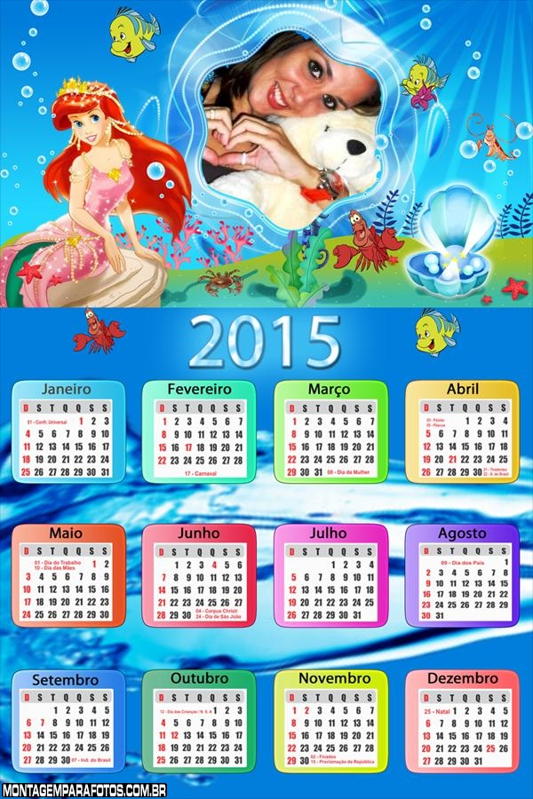 Calendário 2015 Sereia no Mar