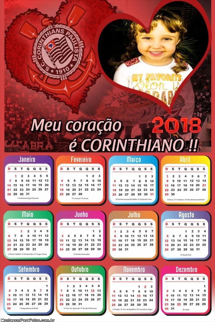Calendário 2018 Coração Corinthians Time