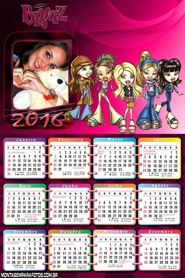 Calendário Bonecas Bratz 2016