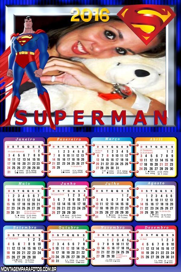 Calendário Super Man 2016 Desenho