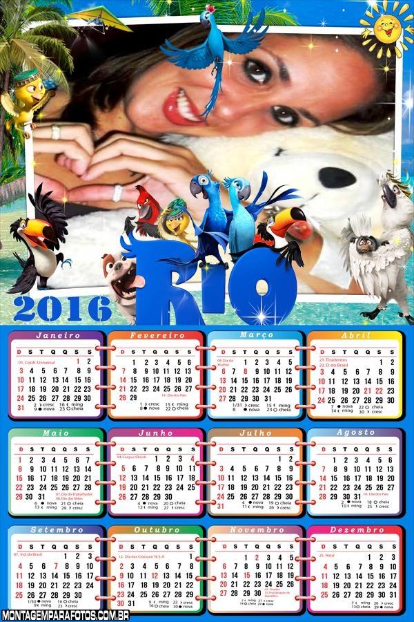 Calendário Arara Azul Filme Rio 2016