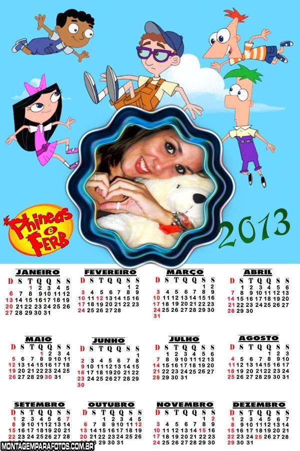 Calendário Phineas e Ferb 2013