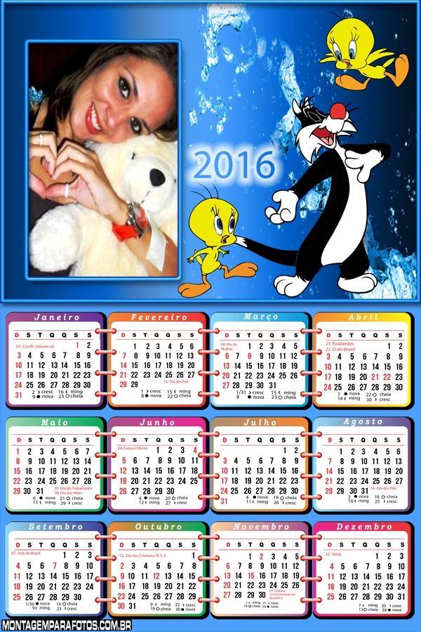 Calendário Frajola e Piu Piu 2016 Desenho