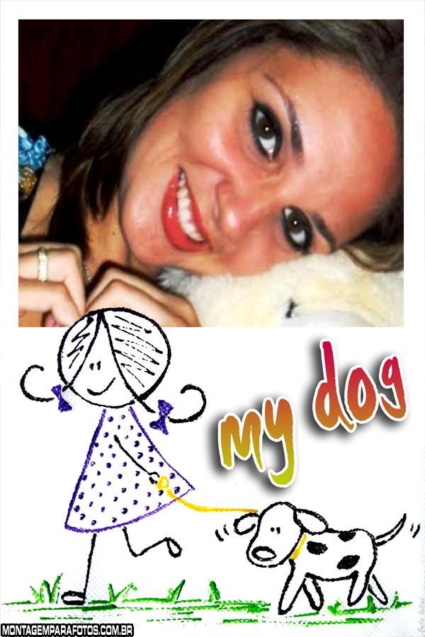 Moldura Menininha com Cão