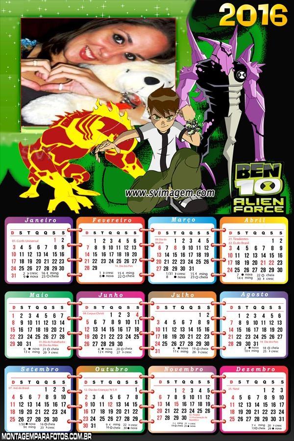 Calendário Ben 10 Força Alienígena 2016