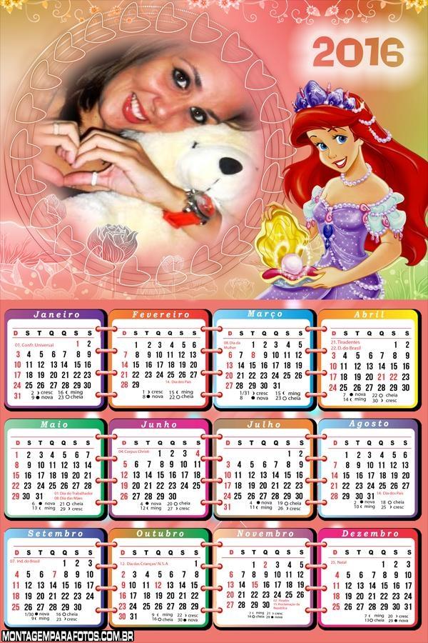 Calendário Princesa do Mar Ariel 2016