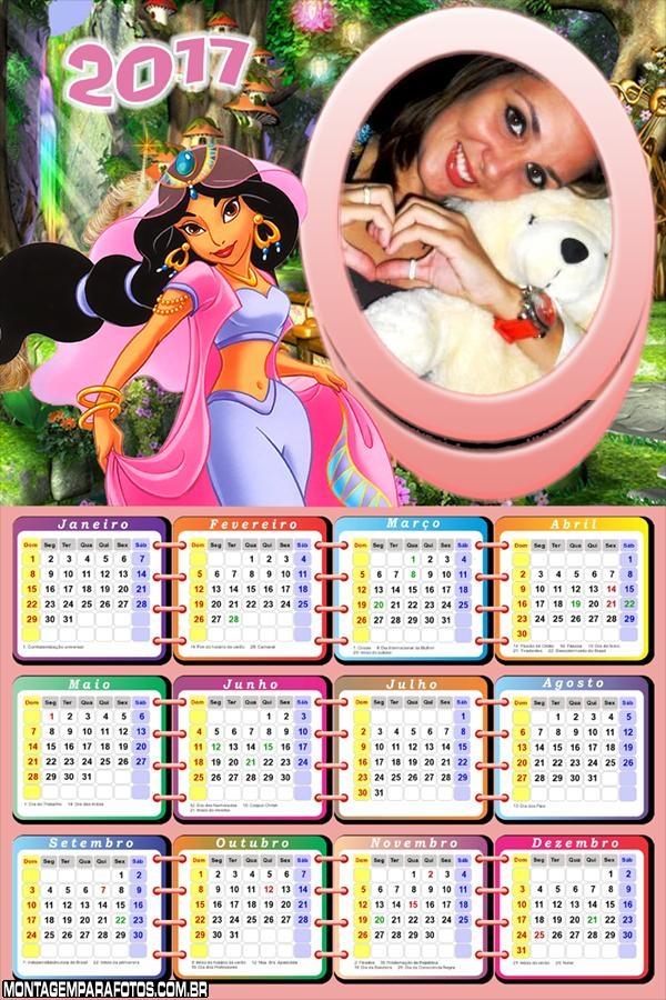 Calendário 2017 Jasmine Princesa