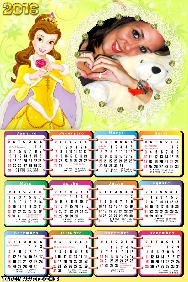 Calendário Princesinha Disney 2016