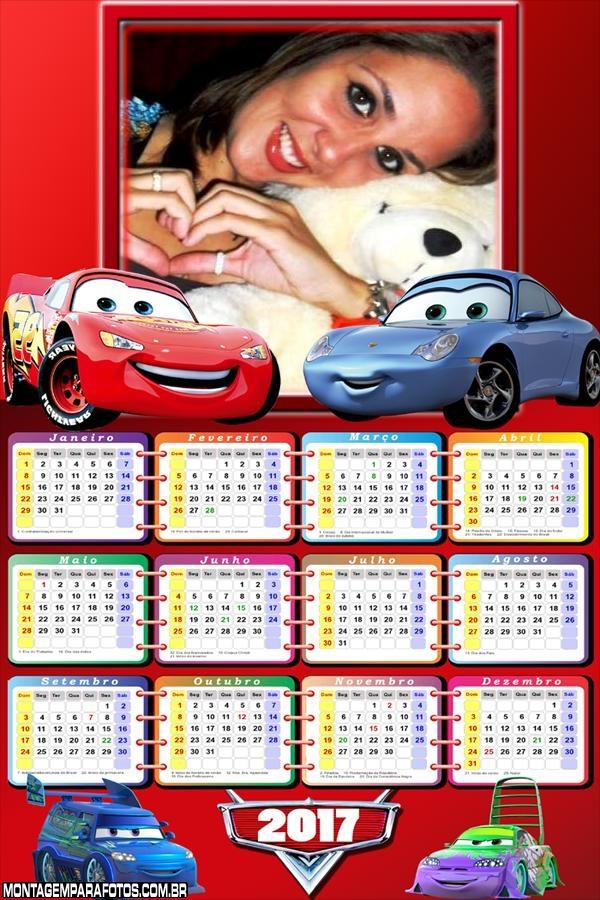 Calendário 2017 Dois Carros do Filme