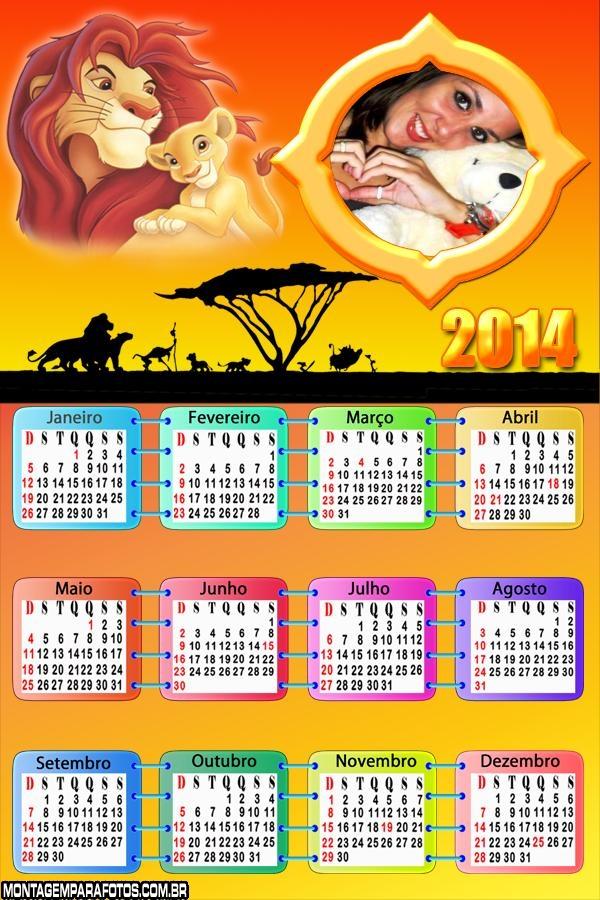 Calendário 2014 Rei Leão