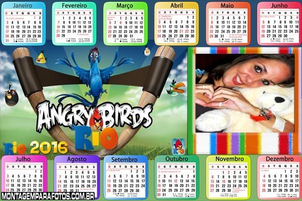 Calendário dos Angry Birds 2016 Horizontal