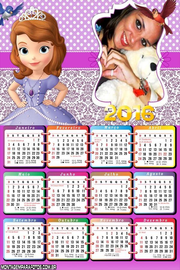 Calendário da Princesa Sofia 2016 FotoMoldura