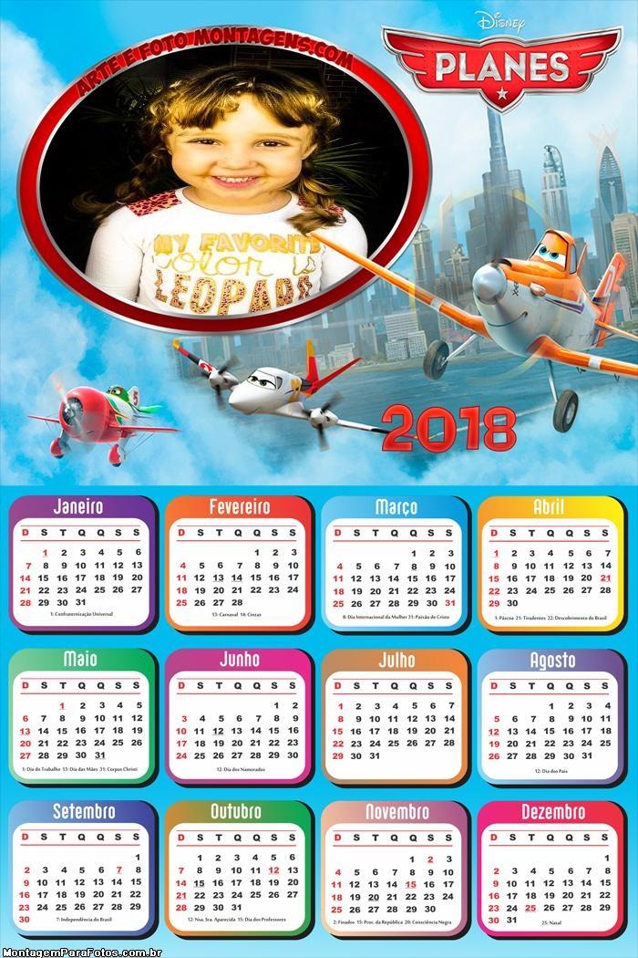 Calendário 2018 Aviões Desenhos