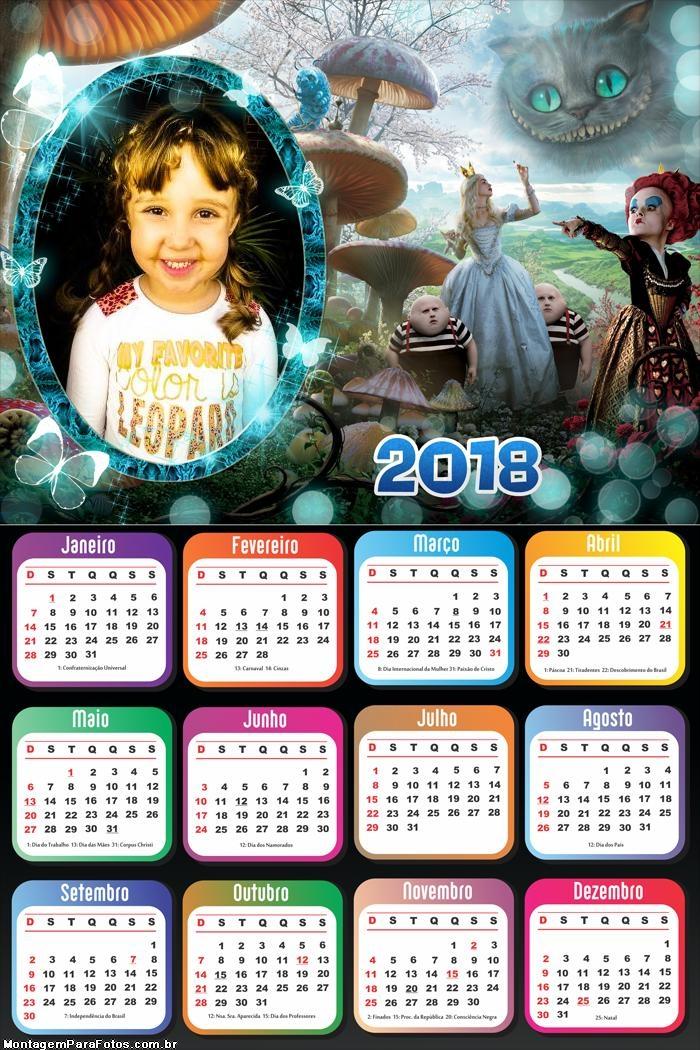 Calendário 2018 Alice no Pais das Maravilhas