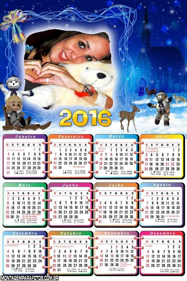 Calendário Boneco de Neve de Natal 2016