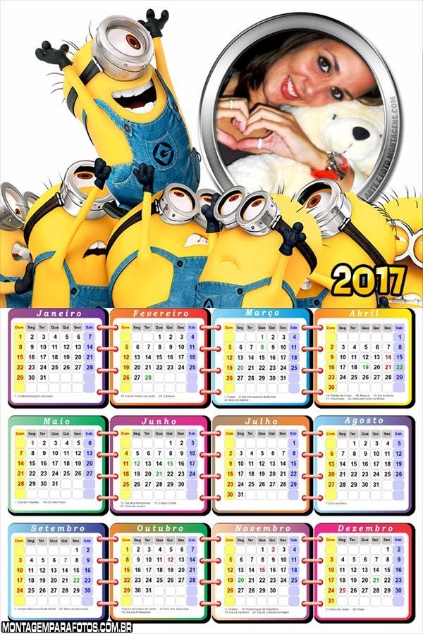 Calendário 2017 dos Minions