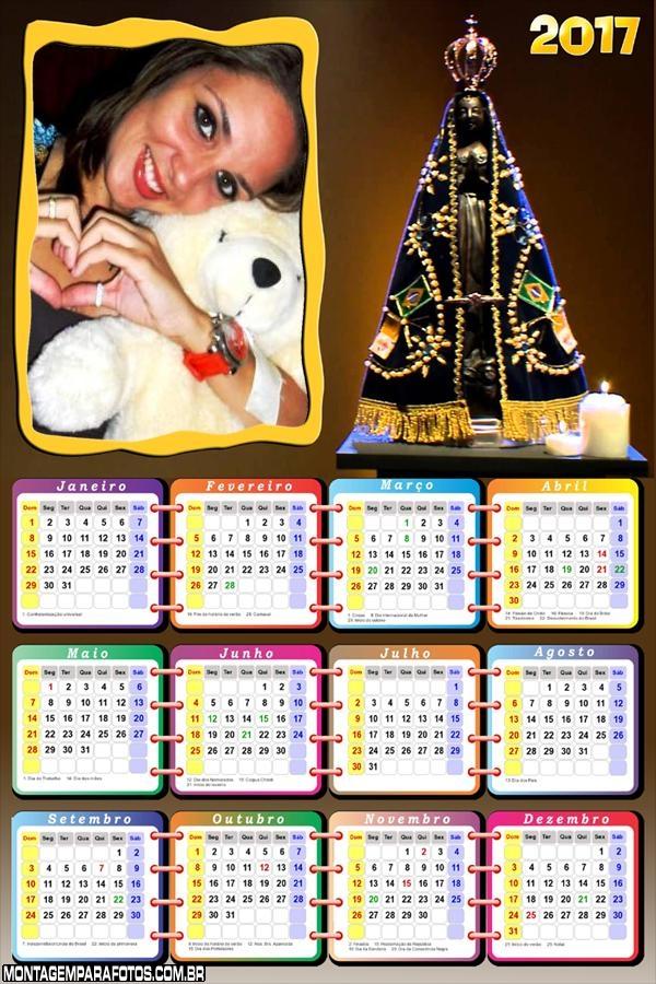 Calendário 2017 da Nossa Senhora Aparecida
