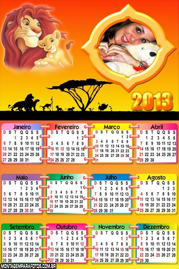Calendário Rei Leão 2013