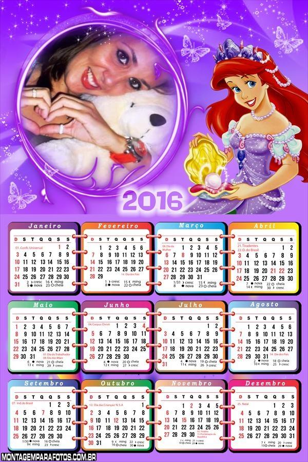Calendário Princesa Ariel 2016 Moldura Lilás
