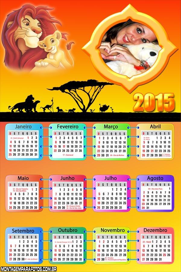 Calendário 2015 Rei Leão