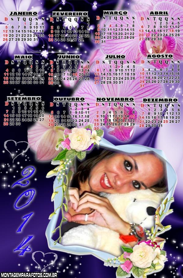 Flores Roxas Calendário 2014