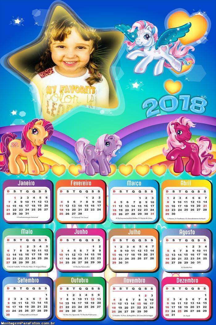 Calendário 2018 Pequenos Ponneys Infantil