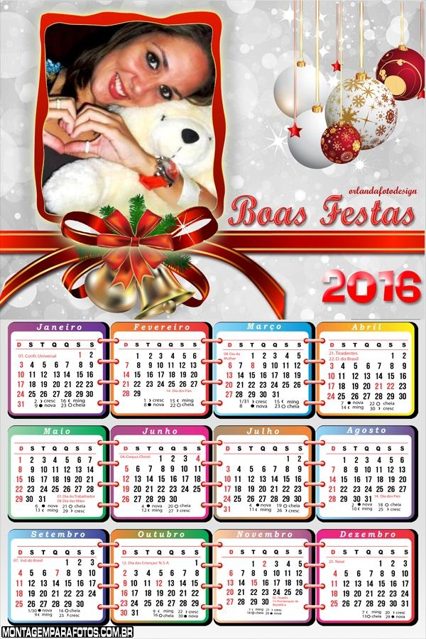 Calendário Boas Festa Final de Ano 2016