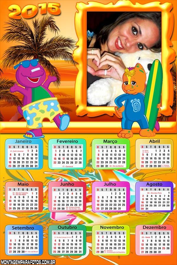 Calendário 2015 Barney na Praia
