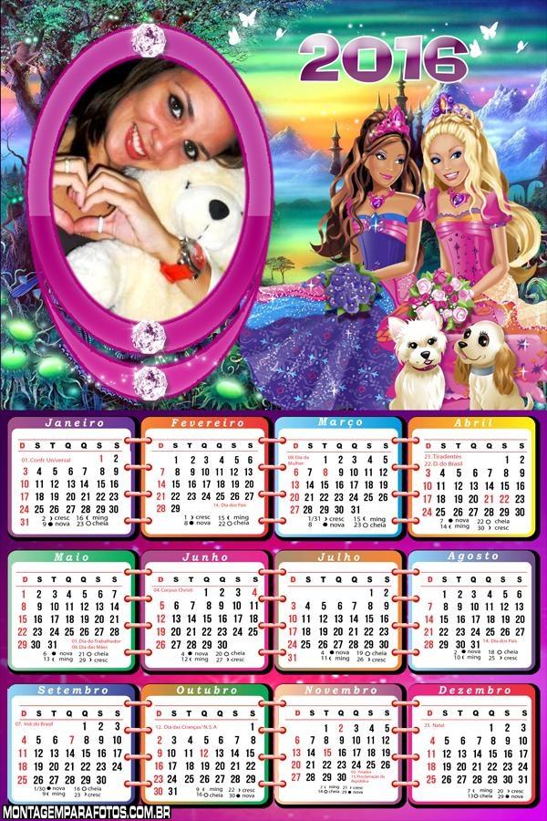 Calendário Barbie Amiga 2016