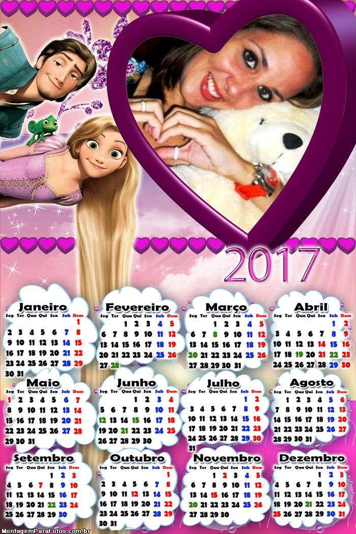 Calendário 2017 Enrolados Princesa Rapunzel