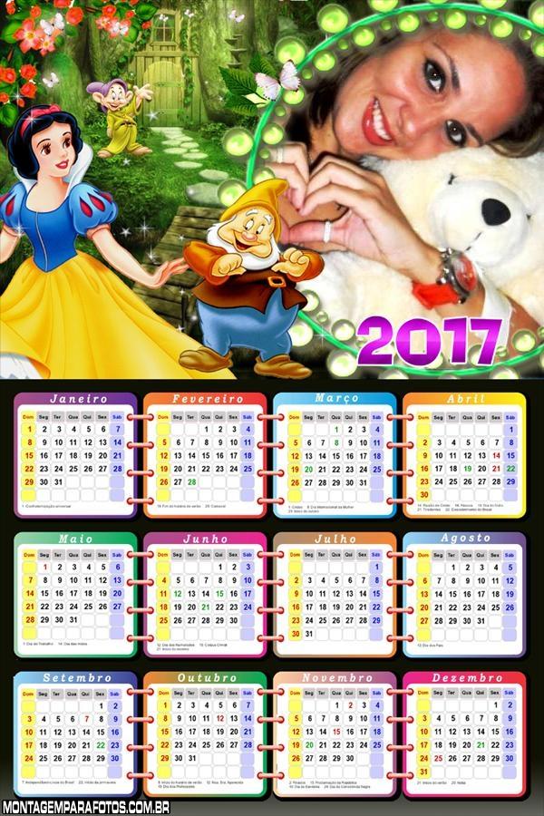 Calendário 2017 Branca de Neve dos Sete Anões