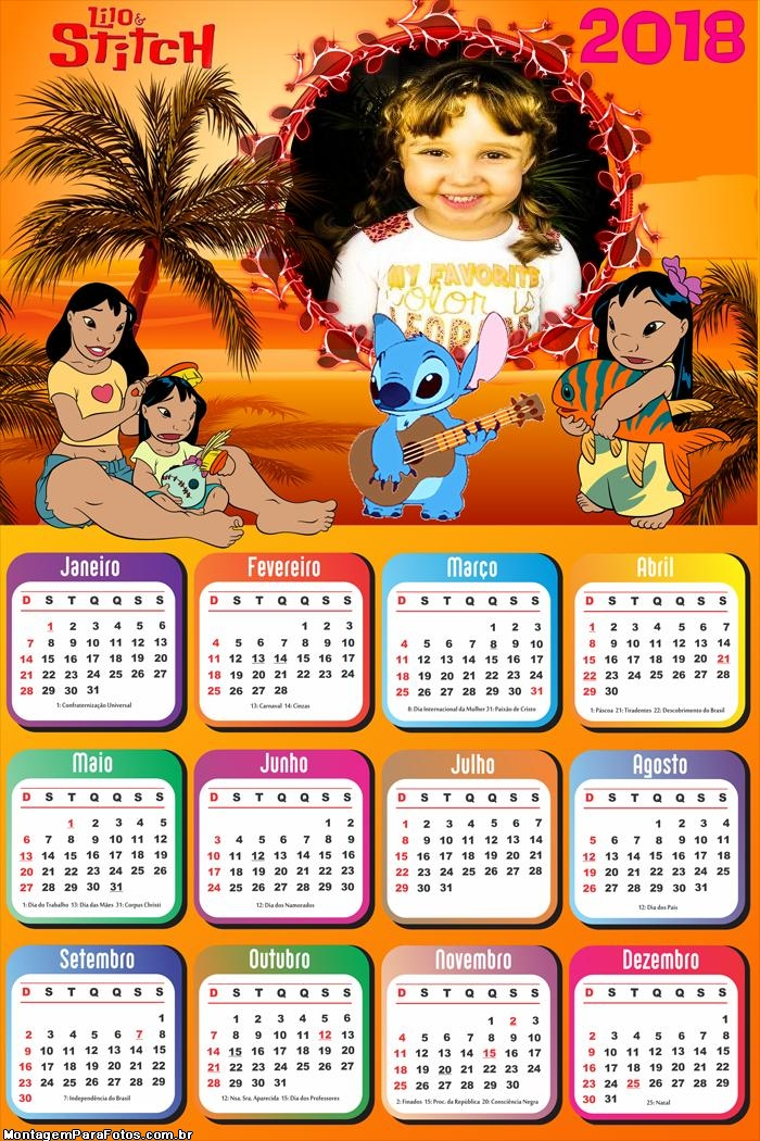 Calendário 2018 Lilo e Stitch